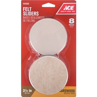 Ace Plastic Round Slide Glide Brown 3-1/2 in. W 8 pk