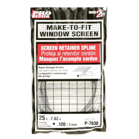 Prime-Line Aluminum and Fiberglass Screening Screen Spline 1/8 in. W x 25 in. L Gray Vinyl