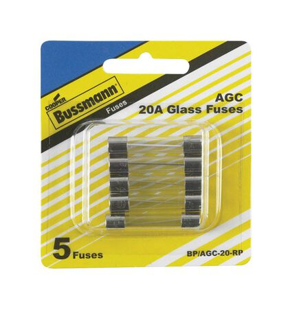 Bussmann 20 amps AGC Automotive Tube Fuse 5 pk