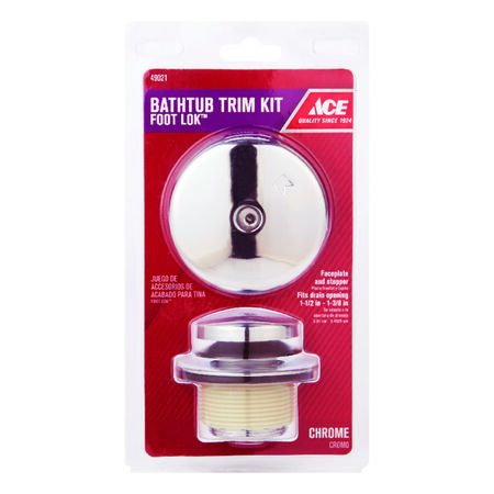 Ace Foot Lok Stop Bath Drain Trim Kit Chrome Plated Finish Zinc Material