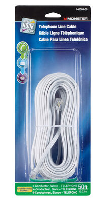 Monster Cable 50 ft. L White Modular Telephone Line Cable