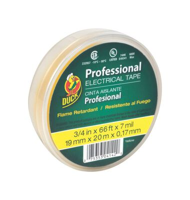 Duck 3/4 in. W x 66 ft. L Vinyl Electrical Tape Yellow
