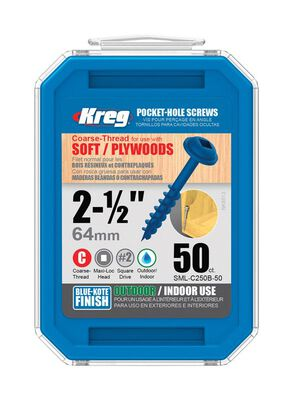 Kreg Washer Pocket-Hole Screw No. 8 x 2-1/2 in. L Zinc Steel 50 pk