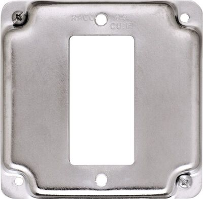 Raco Square Steel 1 gang Electrical Cover For 1 GFCI Receptacle Silver