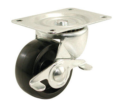 Shepherd Polypropylene 2 in. Dia. Swivel Brakes Included Black Caster 125 lb. 1 pk