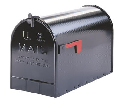 Solar Group Gibraltar Jumbo Galvanized Steel Post Mounted Mailbox Black 15 in. H x 23-1/2 in.