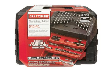 Craftsman SAE/Metric 240 pc. Steel 1/4 in. 3/8 in. 1/2 in. Drive Socket Wrench Set