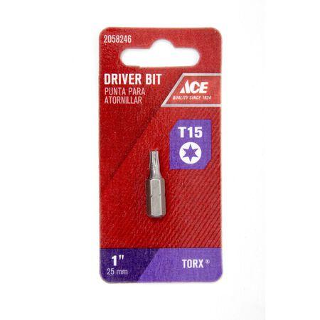 Ace T15 in. Torx Screwdriver Bit 1/4 in. Dia. x 1 in. L 1 pc.