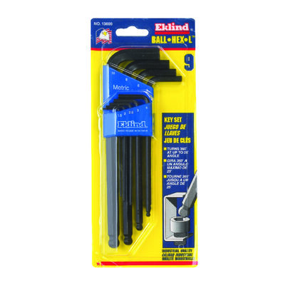 Eklind Metric Long Arm Ball End Hex L-Key Set 9 pc. 1.5-10mm