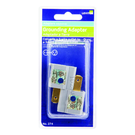 Leviton Polarized Outlet Adapter Gray 15 amps 125 volts 2 pk