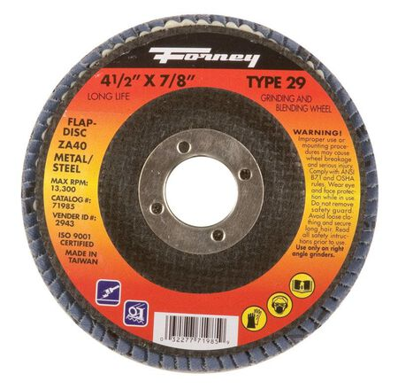 Forney 4-1/2 in. Dia. x 7/8 in. Blue Zirconia Flap Disc 40 Grit