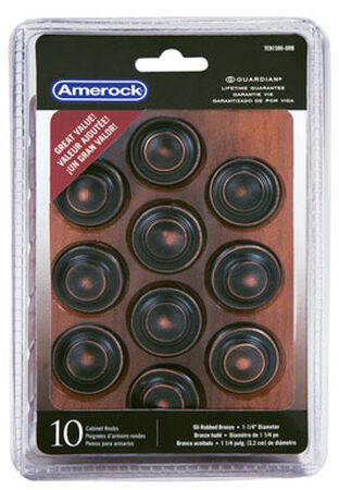 Amerock Inspirations Round Furniture Knob 1-1/4 in. Dia. 1 in. Oil-Rubbed Bronze 10 pk