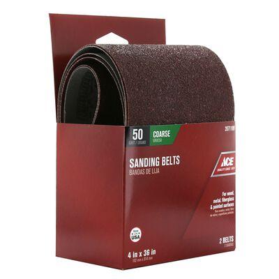 Ace Sanding Belt 4 in. W x 36 in. L 50 Grit Coarse 2 pk