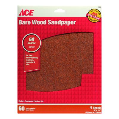 Ace Garnet Sandpaper 11 in. L 60 Grit Coarse 4 pk