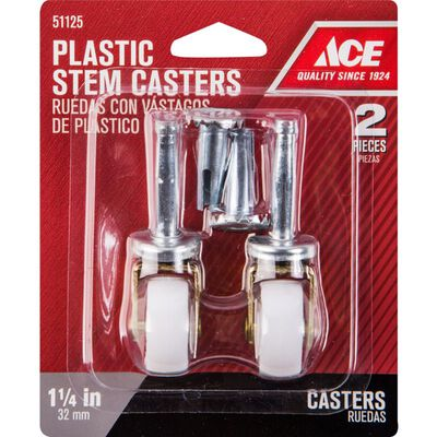 Ace Plastic Caster Wheel with Stem 1/3 in. H x 1/3 in. W x 1-1/4 in. Dia. 40 lb. White/Silver 2