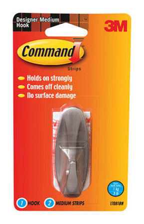 3M Command Medium Designer Hook 3-1/8 in. L Plastic 3 lb. 1 pk