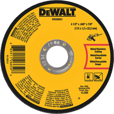 "4-1/2' x .040"" x 7/8"" Type 1 Metal / Stainless Cutting Wheel"