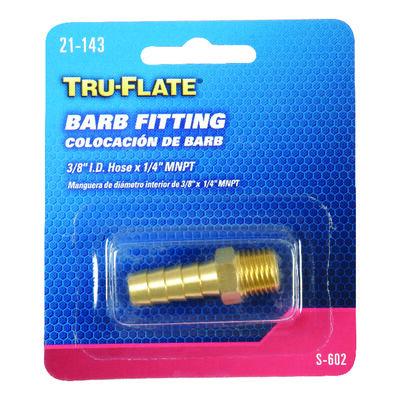 Tru-Flate Brass Barb Fitting 3/8 in. ID Hose x 1/4 in. MNPT in. Male