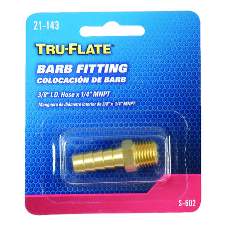 Tru-Flate Brass Barb Fitting 3/8 in. ID Hose x 1/4 in. MNPT in. Male