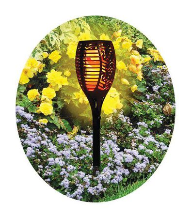 LEDZ ROUND GARDEN TORCH, CERAMIC, BLACK, 12""