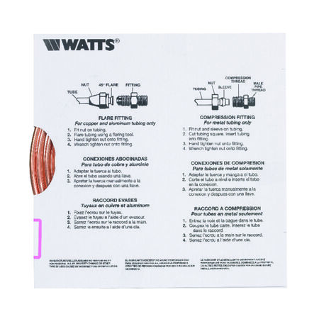 Watts Pre-Cut Copper Tubing Type L 1/4 in. Dia. x 20 ft. L