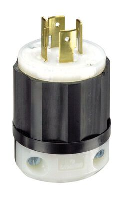 Leviton Commercial Thermoplastic Curved Blade Locking Plug L14-20P 4 Wire 3 Pole Black/White