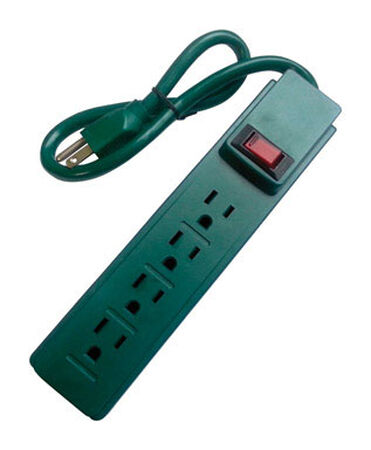 Home Plus 2 ft. L 4 outlets Power Strip Green