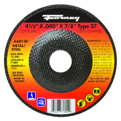 Forney 4-1/2 in. Dia. x .040 in. thick x 7/8 in. Metal Cut-Off Wheel