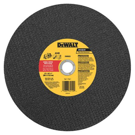 "12"" x 1/8"" x 1"" Metal Portable Saw Cut-Off Wheel"