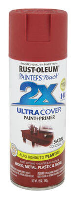 Rust-Oleum Painter's Touch Ultra Cover Colonial Red Satin 2x Paint+Primer Enamel Spray 12 oz.