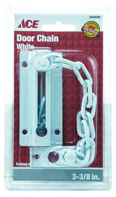 Ace 3.38 in. L White Chain Door Guard