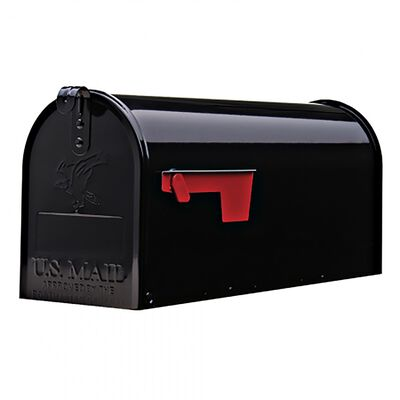 Solar Group Gibraltar Elite Steel Post Mounted Mailbox Black 8-3/4 in. H x 20 in. L