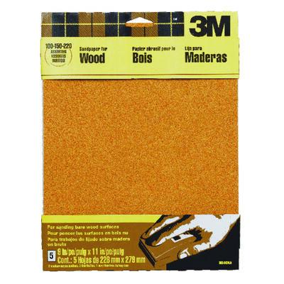3M Garnet Sandpaper 11 in. L 100/150/220 Grit Assorted 5 pk