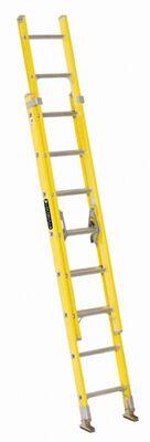 16 ft Louisville FE1716 Fiberglass Extension Ladder, Type I, 250 lb Load Capacity