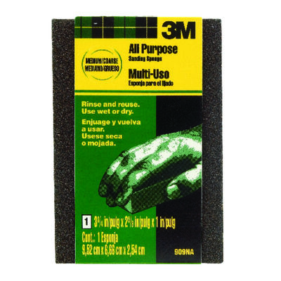 3M Sanding Sponge 2-5/8 in. W x 3-3/4 in. L Medium Coarse