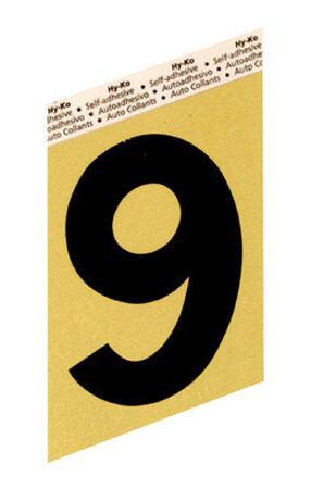 Hy-Ko Self-Adhesive Black Aluminum Number 9 3-1/2 in.