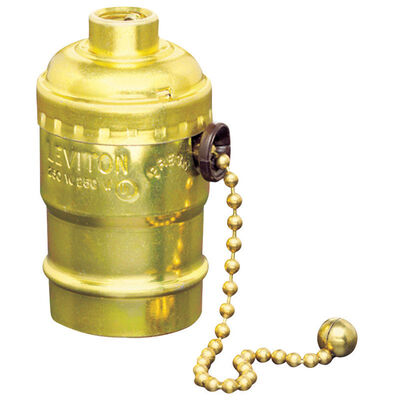 Leviton Pull Chain Socket 250 volts 250 watts Brass