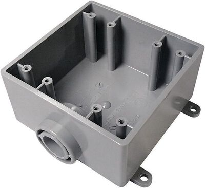 Cantex 6 in. H Square 2 Gang Outlet Box 1/2 in. Gray PVC