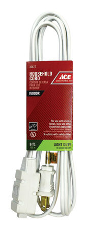 Ace Indoor Extension Cord 16/2 SPT-2 6 ft. L White