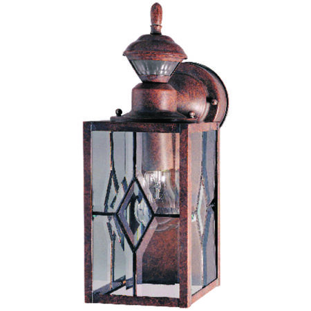 Heath Zenith Rustic Brown Metal Wall Lantern Motion-Sensing A19 100 watts