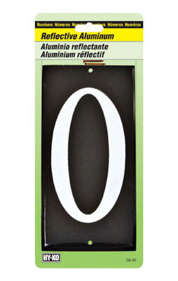 Hy-Ko Nail On White 3-1/2 in. Reflective Aluminum Number 0