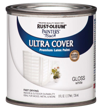 Rust-Oleum Painters Touch Gloss White Water-Based Acrylic Ultra Cover Paint Indoor and Outdoo