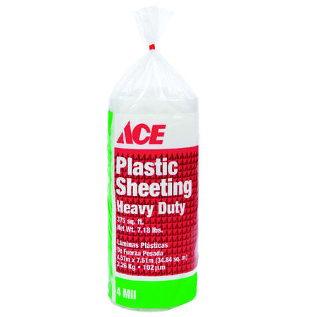 ACE Plastic Sheeting 4 mil x 15 ft. W x 25 ft. L Polyethylene Clear