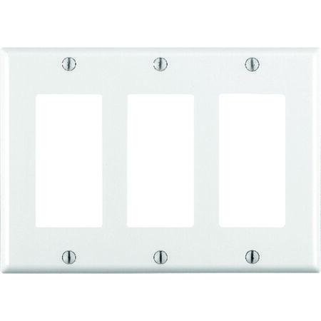Leviton 3 gang White Thermoset Plastic Rocker/GFCI Wall Plate 1 pk