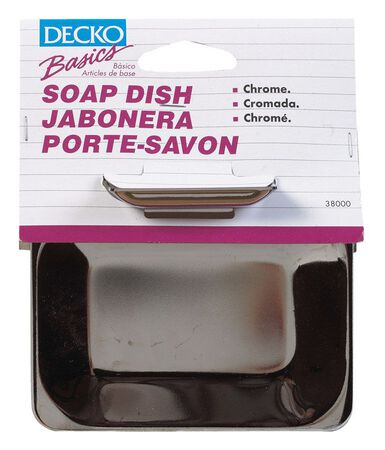 Decko Soap Dish 1.8 in. H x 6 in. L x 4.8 in. W Chrome Chrome Steel