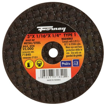 Forney 3 in. Dia. x 1/16 in. thick x 1/4 in. Metal Cut-Off Wheel