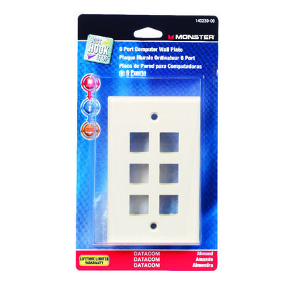 Monster Cable Just Hook It Up 1 gang Almond Plastic Cable/Telco Datacom Wall Plate 1 pk