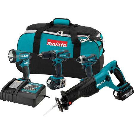 Makita LXT 4 pc. Cordless Combo Kit Lithium-Ion 18 volts 2 300 rpm
