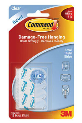 3M Command Small Refill Adhesive Strips 1-3/4 in. L Plastic 1 lb. per Strip 12 pk