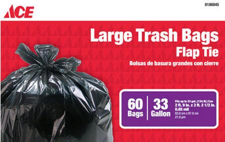 Ace 33 gal. Trash Bags Flap Tie 60 pk